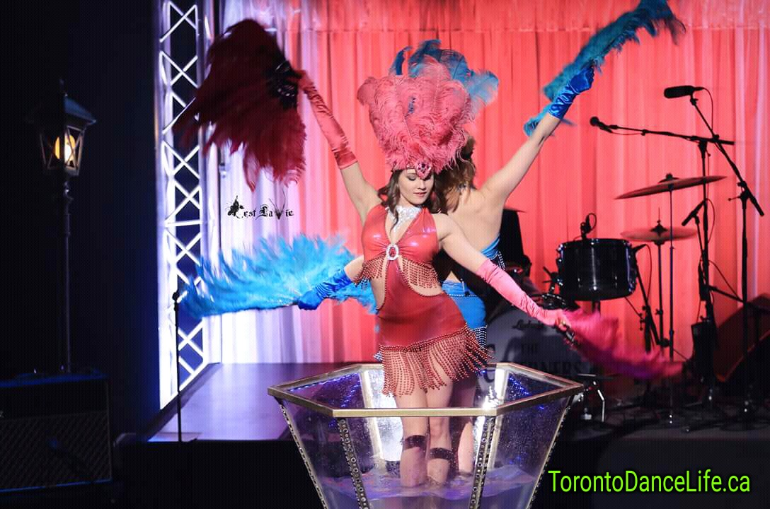 Burlesque champagne giant glass show